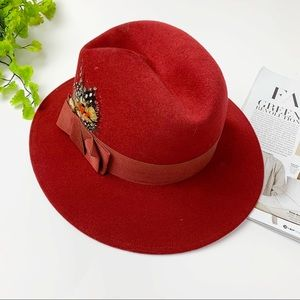 ADOLFO II WOOL FEDORA HAT IN MAROON